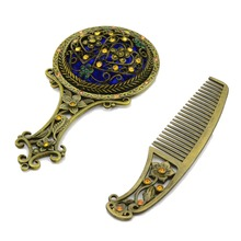 Chinese Style Tourist Souvenir Handheld Hollow Imitation Cooper Mirror Comb Set(China (Mainland))
