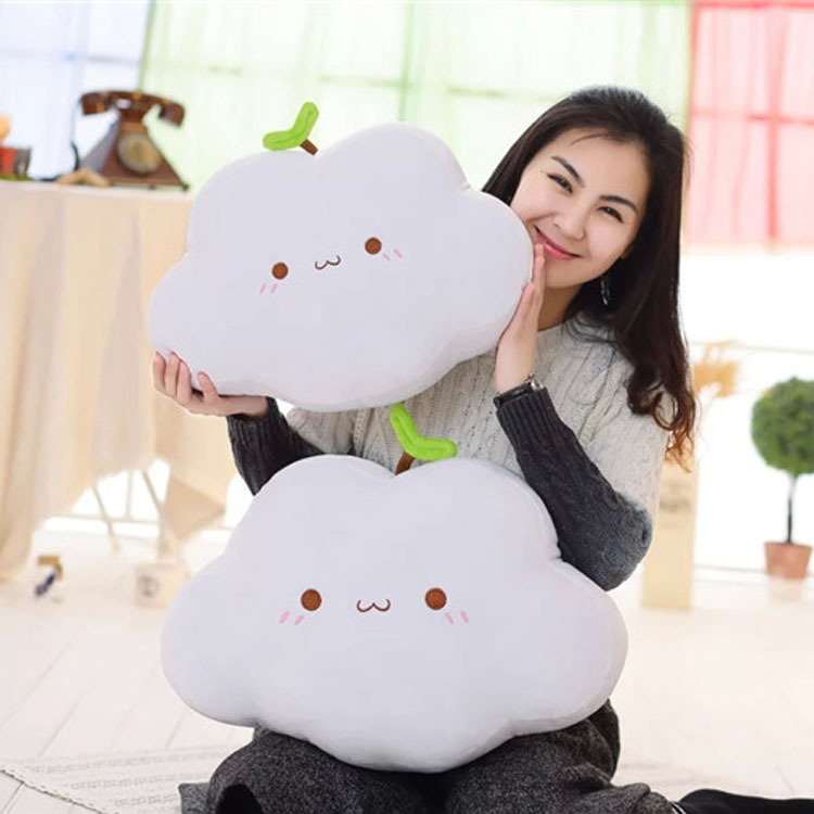 New Coming 2 Style Kawaii Soft Smiley Face Bow Cloud Pillow Cotton Stuffed Cushion Plush Toy Fast Sihpping(China (Mainland))