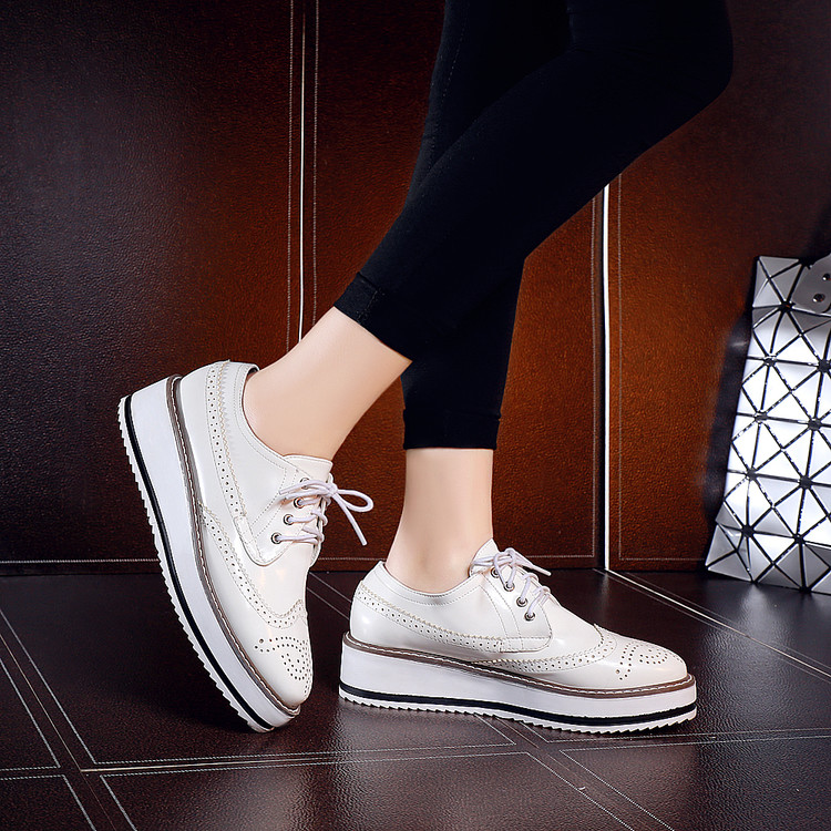 2016 Time-limited Promotion Creepers Fashion Style Oxford Shoes For Women Chaussures Femme,patent Platform For Brogues Flat Sex