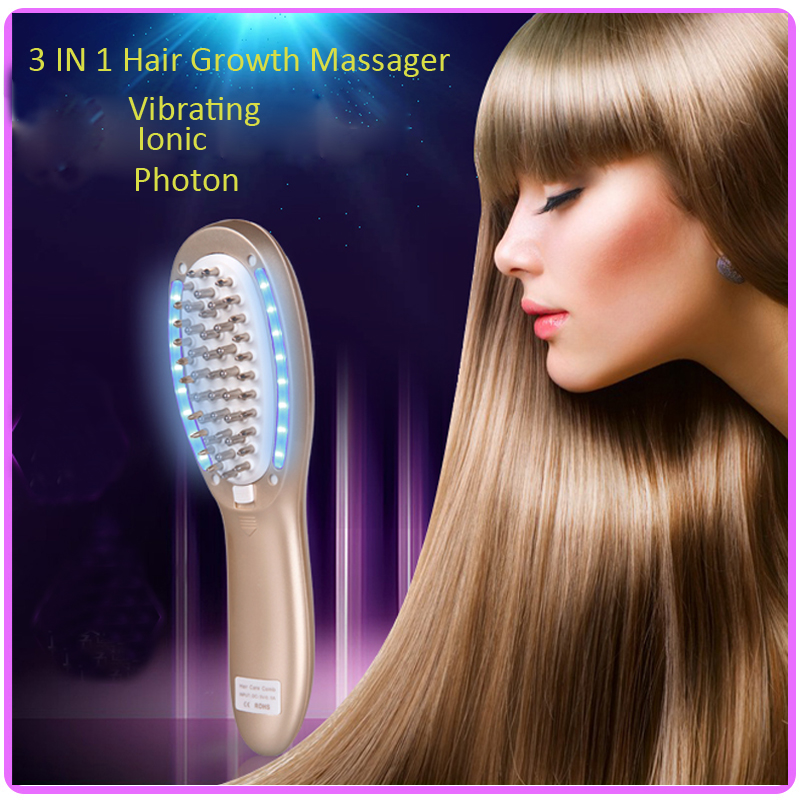 3 IN 1 Vibration Ionic Led Photon Therapy Electric Hair Growth Massager Comb For Hair Loss Treatment<br><br>Aliexpress