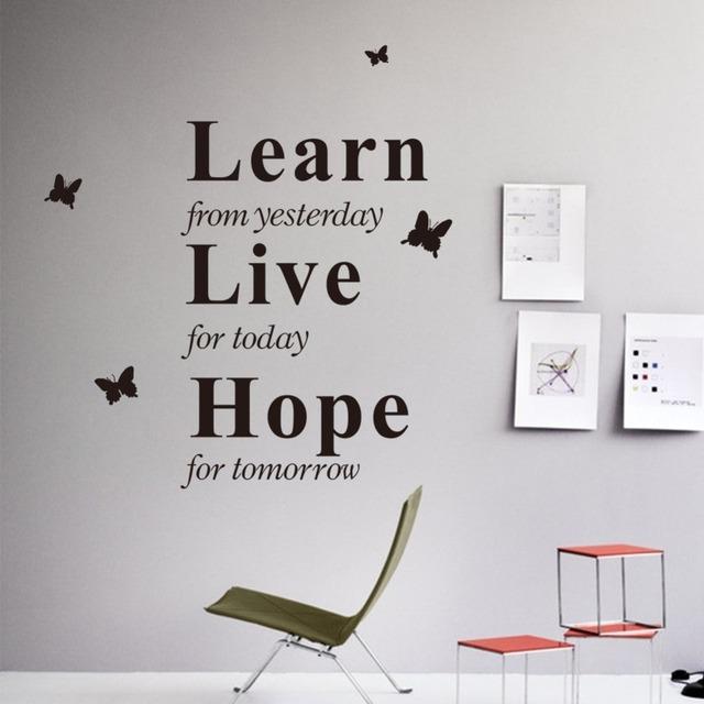 Учитесь у вчера онлайн надежда декор виниловые наклейки на стены цитата бабочка наклейка вдохновение виниловая наклейка домой термоаппликации ZY8236