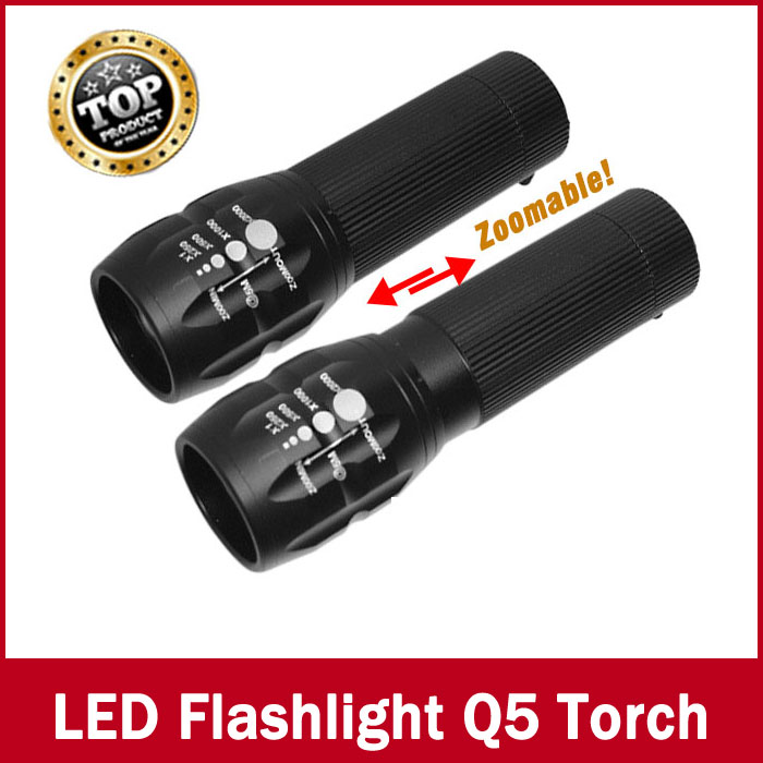 Promotion 90% off flashlight Lanterna Cree Q5 led Torch 2000 lumen Zoomable Black Mini LED Flashlight lantern bike light(China (Mainland))