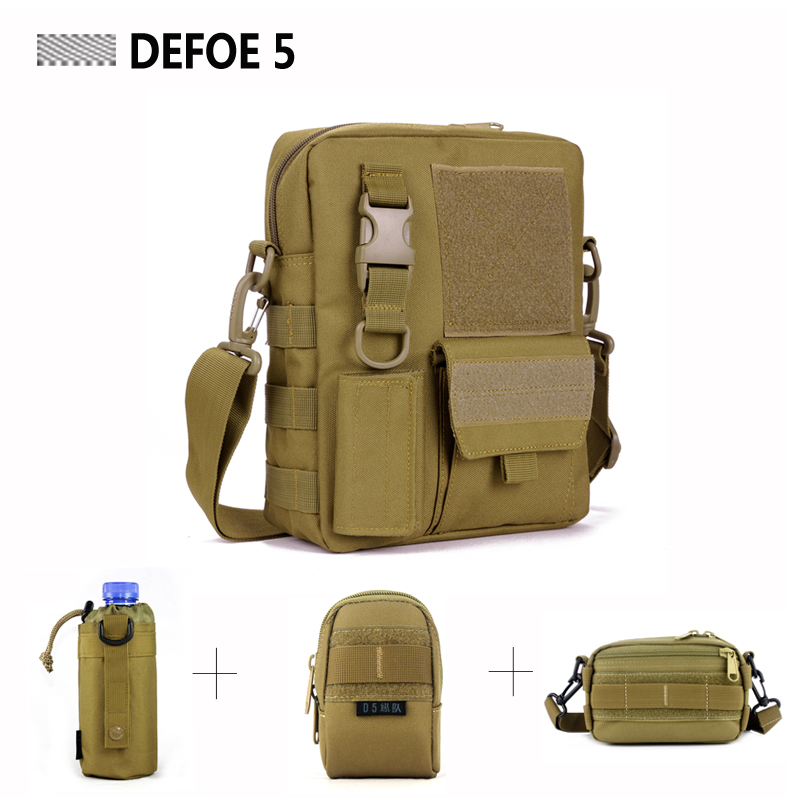 Tactical Gear Combo Bundle, Messenger Shoulder Crossbody Bag Tactical Gear + 3 Molle Small Pouches,4 Pieces in a Set Save 35%(China (Mainland))