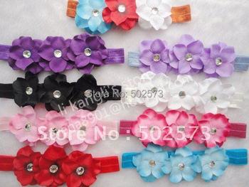 150pcs/lot Rhinestone Triple Hydrangea Flowers Flower on Soft Stretch Elastic Headband headbands Hairbands