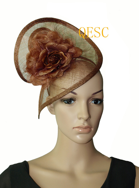Brown coffee sinamay fascinator hat with silk flower for Derby kentucky Wedding.(China (Mainland))