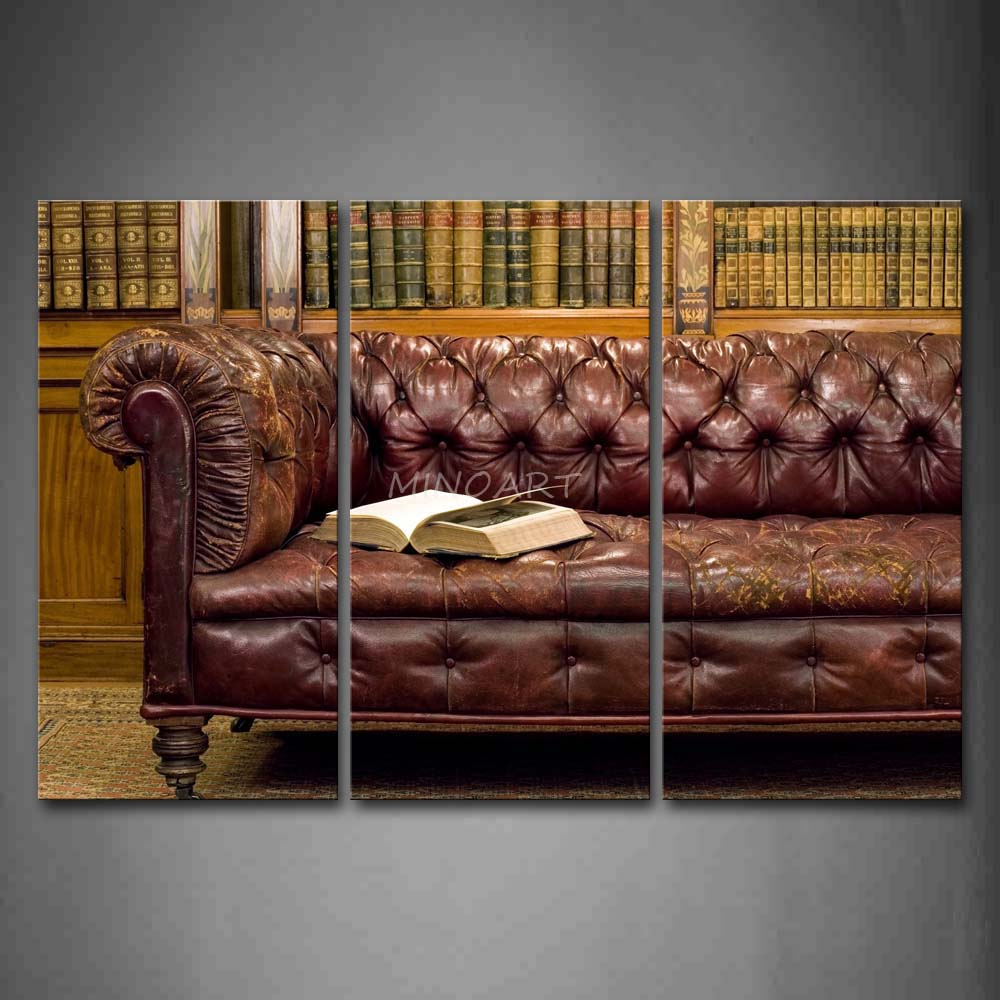 Wall Decor With Leather Furniture : Piece wall art painting leather sofa with a thick book