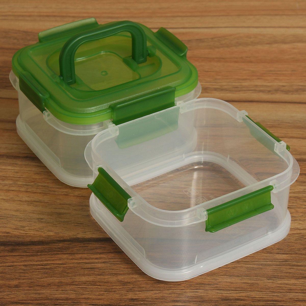 Plastic Refrigerator Kitchen Coldbox Crisper Food Transparent Sealed Container Two Layers Multipurpose Storage Box 680ml X2(China (Mainland))