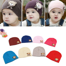 0-9M Lovely Infant Unisex Baby Boys Girls Bear Dots Pattern Cotton Cap Winter Beanie Hats 9 Colors L4