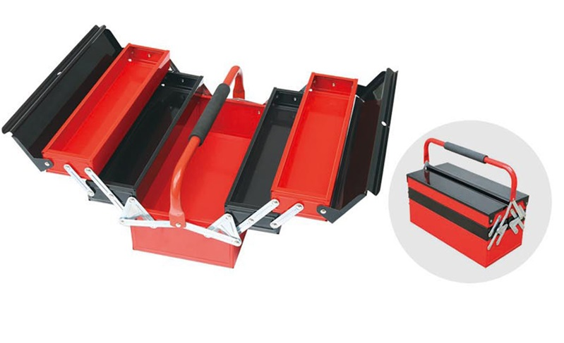 3-Tier Foldable Big Metal Tool Box Side by Side Open Folding Tool Box(China (Mainland))