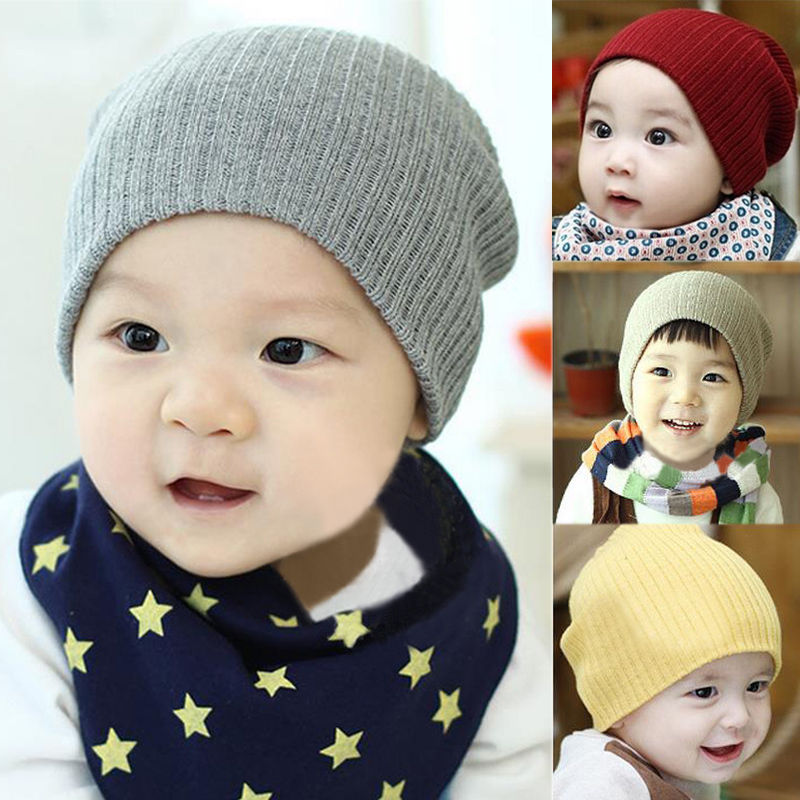2015 Crochet Fashion Knitting Warm Baby Hat Caps Kids Pure Candy Color Children Hats Boys Girls Beanie Hats Accessories(China (Mainland))