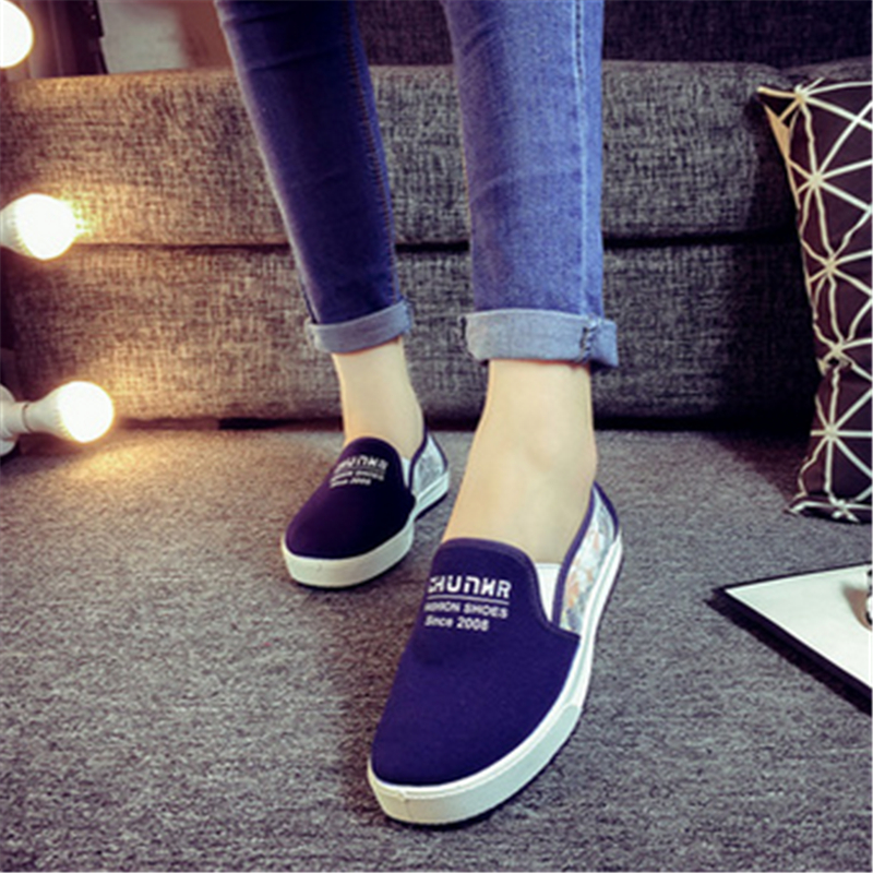 Spring 2016 new canvas shoes sport single soft bottom han edition casual shoes for women's shoes with flat bag mail(China (Mainland))