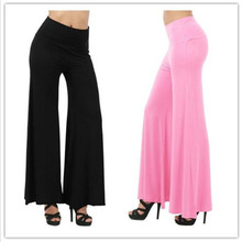 Buy 19 Colors Women Pants Casual High Waist Flare Wide Leg Long Pants Palazzo Solid Trousers Plus Size Classic Hip Hop Elastic Pant for $12.03 in AliExpress store