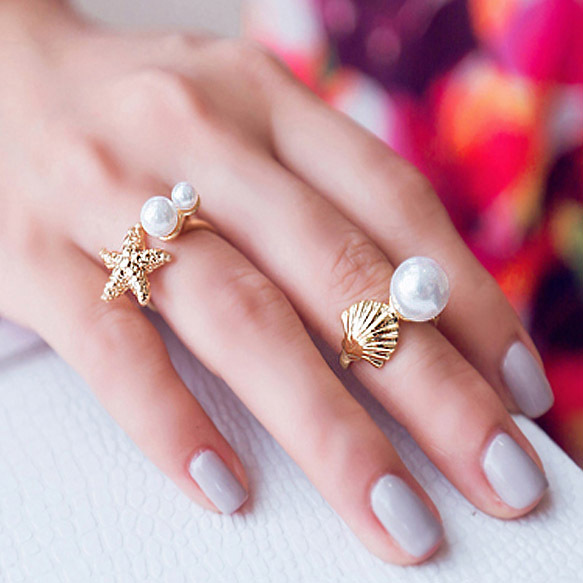 Fashion Unique Jewelry Starfish And Shell Imitation Pearl Joint Rings Suit Ring Women Jewlery FR023(China (Mainland))