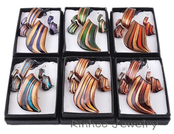 6 boxes twist gold dust lampwork murano glass necklace earrings jewelry sets Lampwork Jewelry Set Murano Glass Necklace Earrings(China (Mainland))