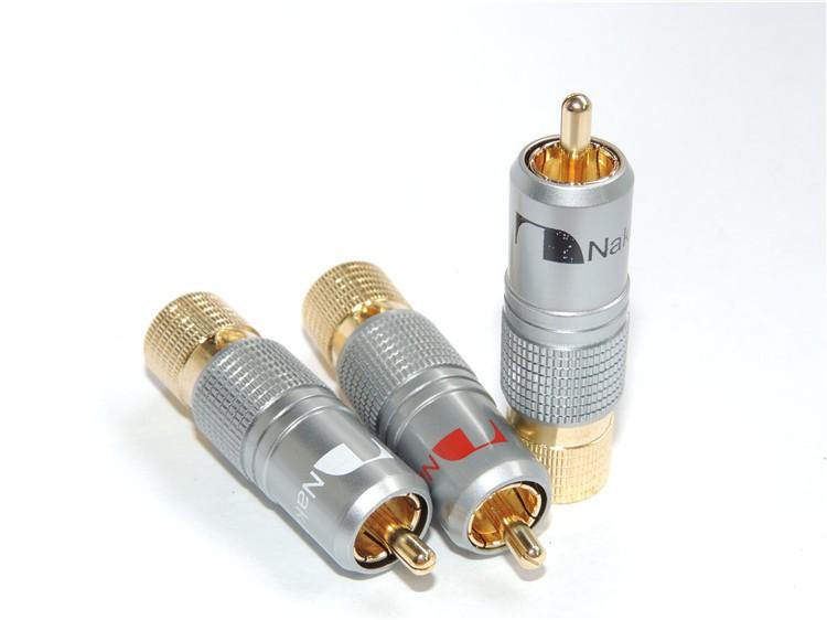 20pcs Gold Plated NAKAMICHI RCA Plug Locking Non solder plug connector(China (Mainland))