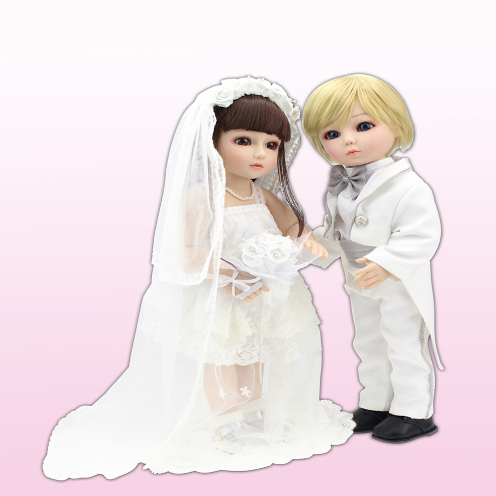 2016 New Arrived Best Married Gift To Friends Handmade BJD/SD Full Silicone Reborn Baby Dolls toys with Beautiful dresses