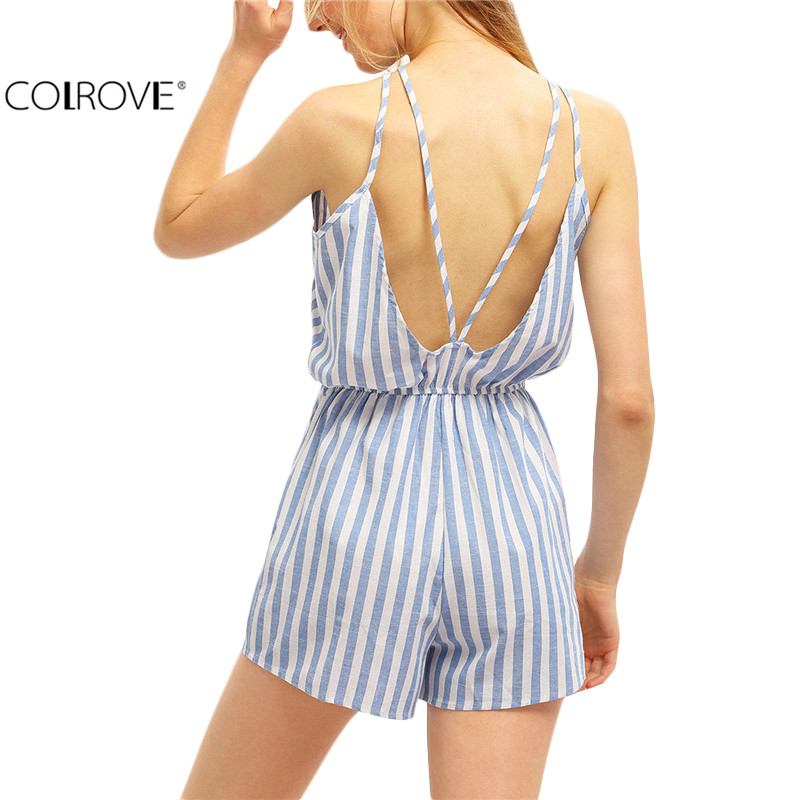 COLROVE Sexy Summer Women Romper Womens Jumpsuits 2016 Beach New Arrivals Open Back Spaghetti Strap Vertical Striped Rompers(China (Mainland))