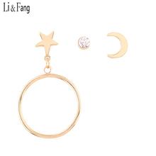 Buy Li & Fang Star Rhinestone Dangle Earrings Crystal Women Fashion Jewelry Elegant Simple Maxi Moon Round Drop Earrings Three 2017 for $2.78 in AliExpress store