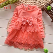 2015 New girls Dresses Baby cotton Dress kids children bow Lace princess dres  4colors free shipping(China (Mainland))