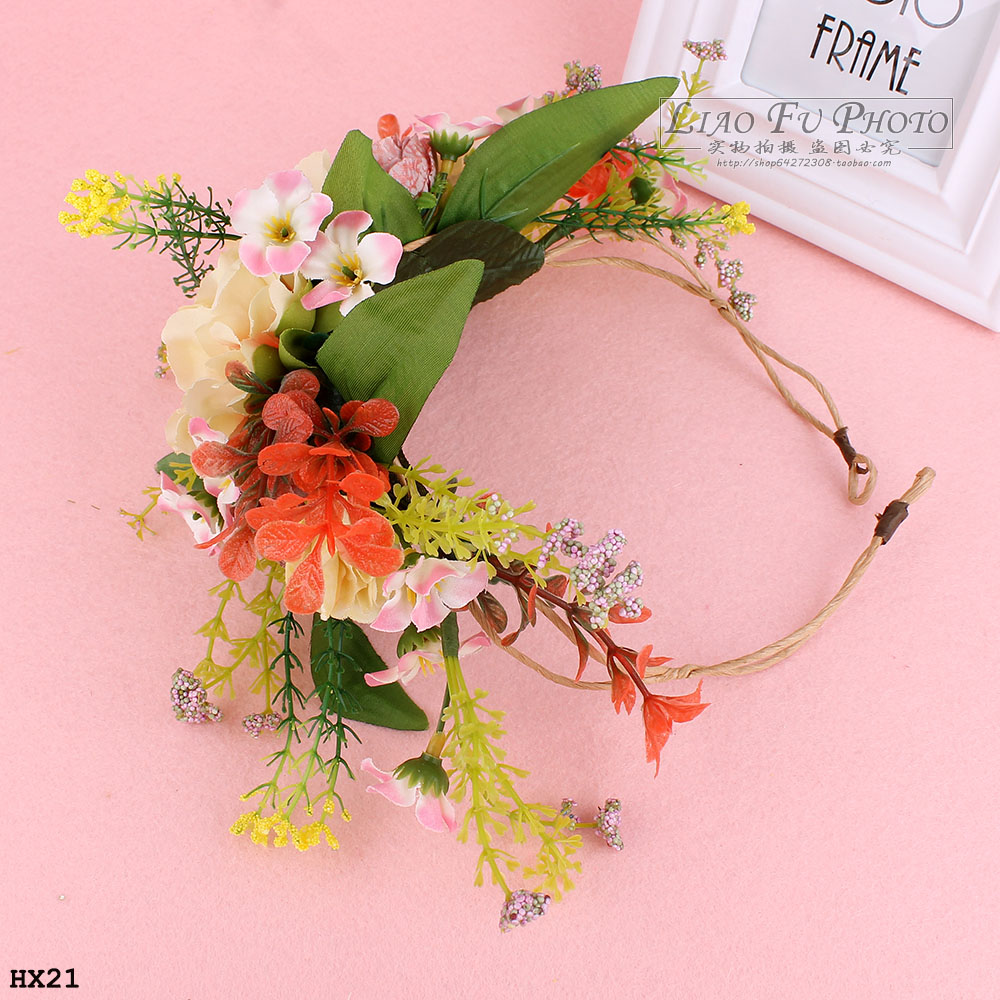 Free Shipping Jewelry Bridal Flower Headband Wedding Party Floral Garland Hair Bands Headwear It Can Be Used With Hat(China (Mainland))