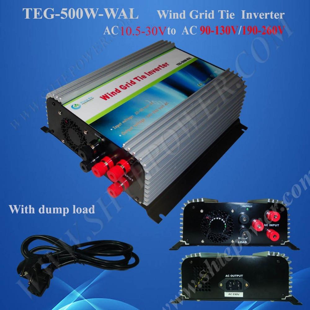500W grid tie Inverter With Dump Load For Wind Generator System (AC 10.8V-30V Input to AC 90-130V/190-260V)(China (Mainland))