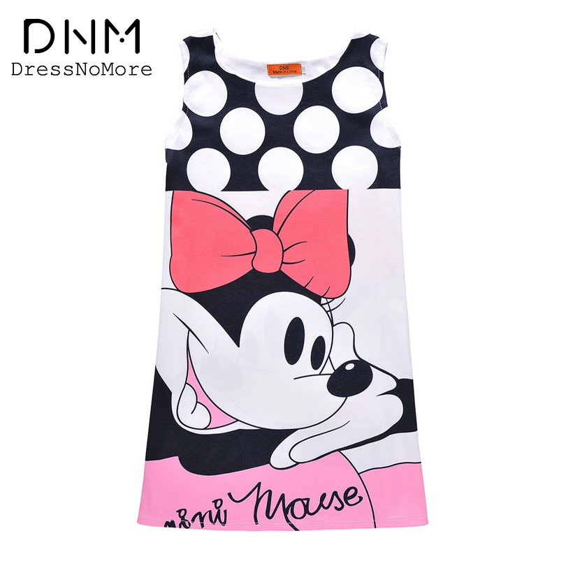 Girls Clothes New 2017 Summer Princess Dress Minnie Mouse Kids Costume Dot Cartoon Print Vestidos Dresses For Girls 6-12 Years(China (Mainland))