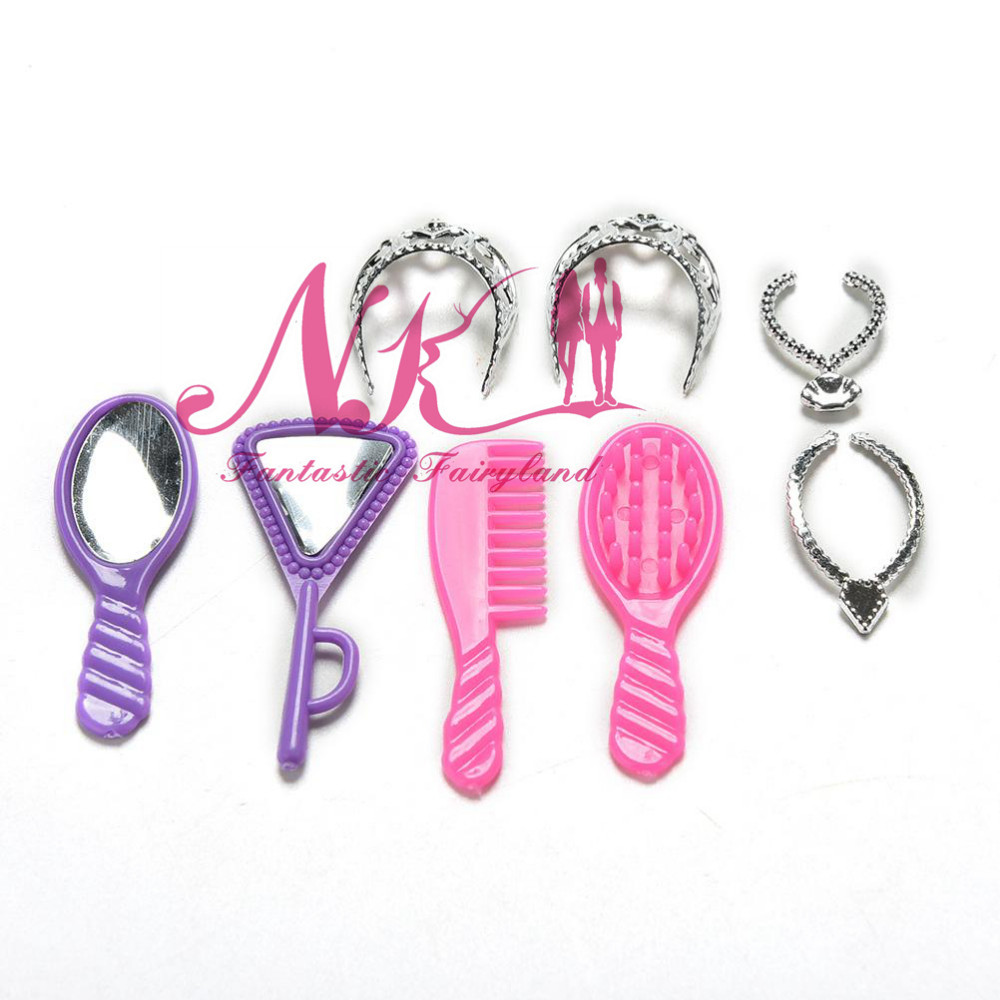 NK eight pcs/set Vogue Plastic  Doll Equipment Chain Necklaces Doll Jewellery Comb Mirror Necklace Crown Accent For Barbie Doll