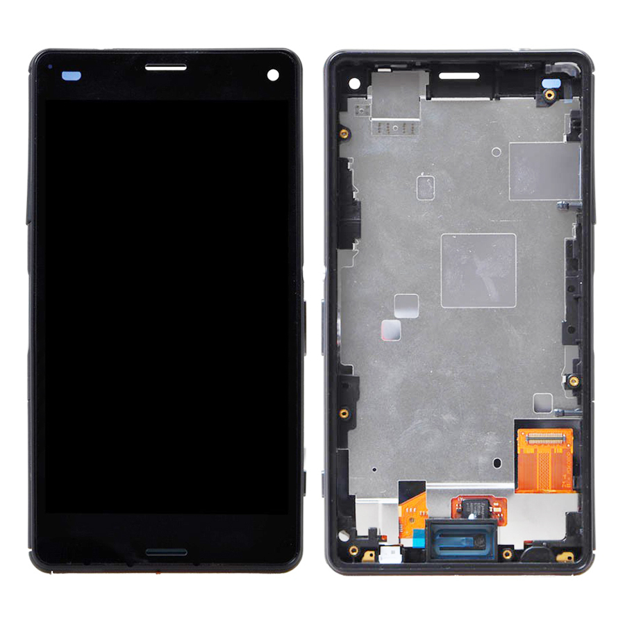 +Frame BLACK LCD Display + Touch Screen Digitizer Assembly Replacement For Sony Xperia Z3 mini Compact D5803 D5833 Free Shipping(China (Mainland))
