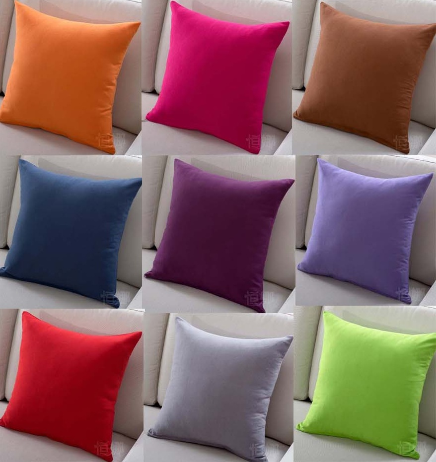 Solid Color Sofa Cushion Covers HOT SALE Red Pink Purple Blue Orange Throw Pi