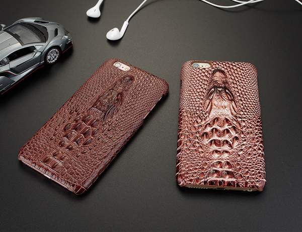 2016 new arrive real leather crocodile cayman over case for Iphone6 6S & 6P 6S plus Stereo Mobile Phone Shell(China (Mainland))