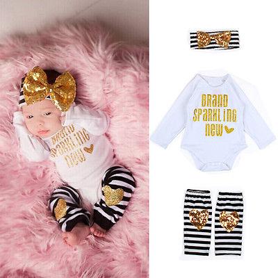 2016 wholesale baby clothing set newborn kids baby boy girl infant long sleeve letter romper +headband+striped sock(China (Mainland))