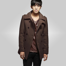 Free shipping  2015 men's new Blends long double-breasted intimate Wool Pure color Wool jacket 69 cy(China (Mainland))