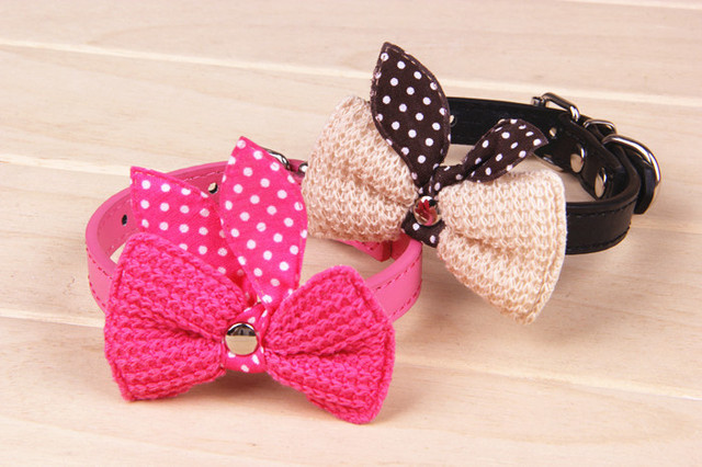 Knit Bowknot Adjustable Leather Wool bows pet plush butterfly collars cat laps dog Puppy PU collars supplies Products favors