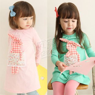 Free Sale New Arrival Freeshipping Appliques Character Shipping! 2015 Spring Autumn Rabbit Girl Clothing Baby Long-sleeve Dress