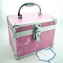 Metal Portable Cosmetic Bags Double-deck Trunk Box Travel Handbag Professional Makeup Organizer Storage Case Jewelry Trunks Bag(China (Mainland))