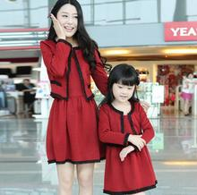 Family Fashion Two-Pieces Dress Long-Sleeve Coats + Vest Dress for Girls & Women Spring Autumn Dress (Colors: Grey, Red) FLQ33