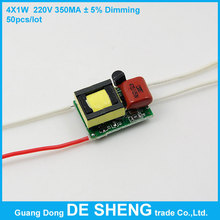 Dimmable 50pcs/lot 4X1W 220V 50/60Hz bulb lamp power supply built-in constant current LED driver for DIY-Free shipping !(China (Mainland))
