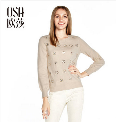 Promotion! OSA 2015 Women Spring Winter Long Sleeve O Neck Knit Sweater Beading Casual Pullover SH412004(China (Mainland))