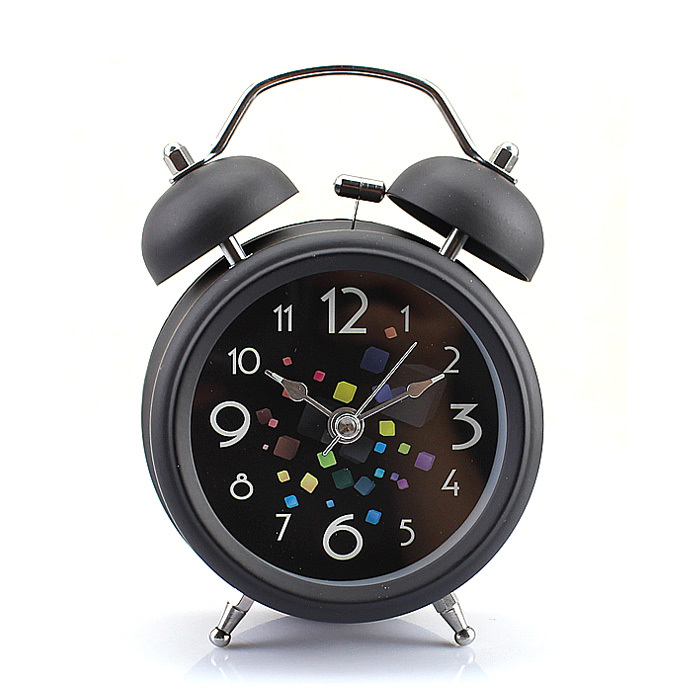 """Black Vintage Metal Magic Cube Style Double Bell Desk Table Alarm Clock 3""""(China (Mainland))"""