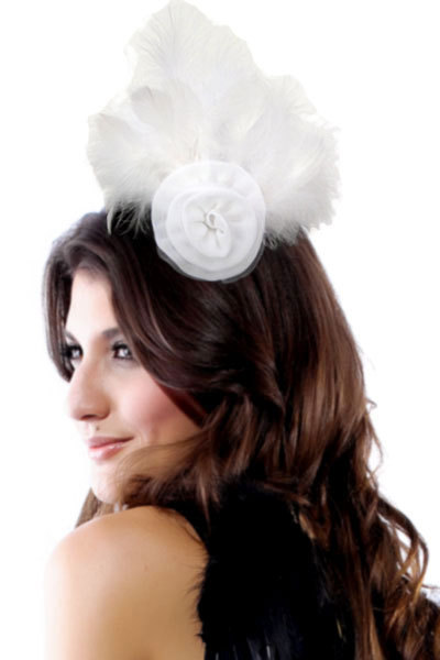 2014 White Brooch Hair Clip With Feather And Chiffon Flower LC70380 Cheap price Drop Shipping Hair Accessory(China (Mainland))