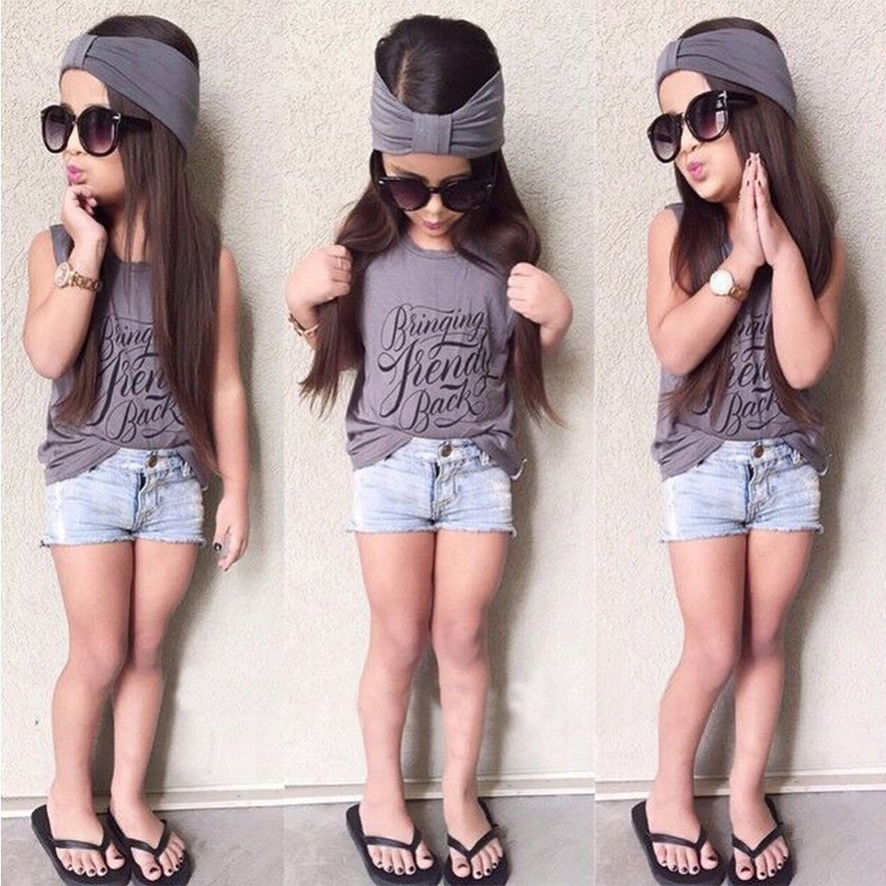 3pcs Toddler Kids Baby Girl Outfits Headband+Top T-shirt+Short Jeans Pants Clothes Set  2-6Years