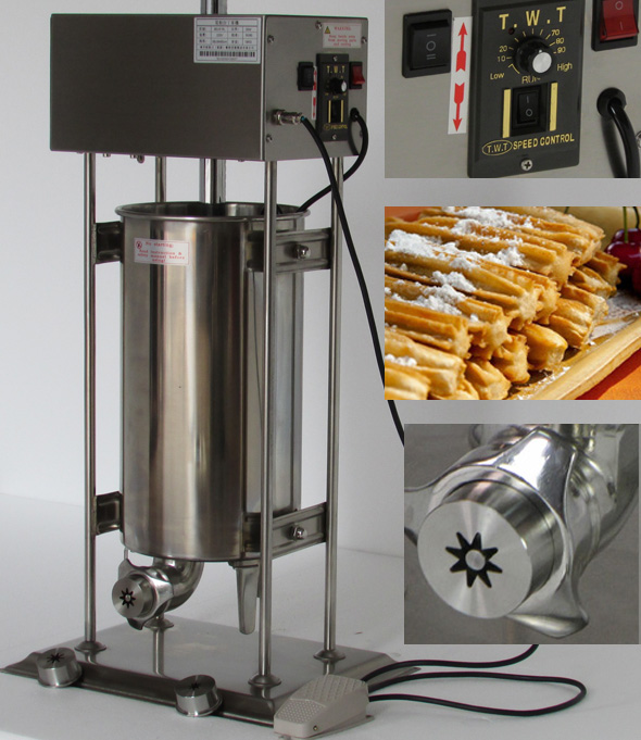 15L Capacity Commercial Use110v 220v Electric Auto Spanish Churro Maker Machine Baker<br>