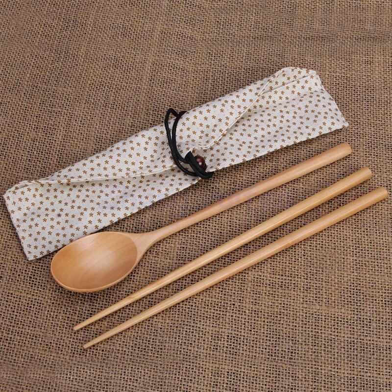 Natural wood spoon chopsticks, green travel portable cutlery,receive bag(China (Mainland))