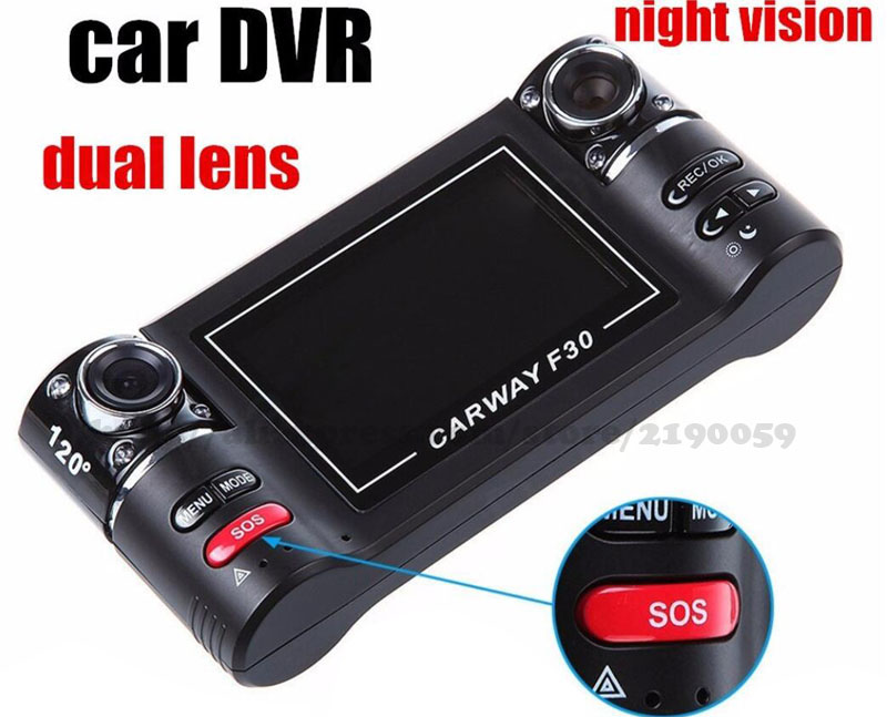 "2.7"" 16:9 Display Double camera Lens F30 Dual Lens Driving Recorder Night Vision Car DVR 2015 HOT SALE!(China (Mainland))"