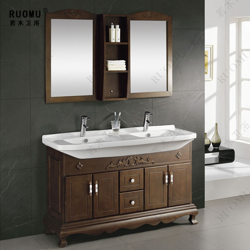 Oak Wood Bathroom Cabinet Bathroom Vanity Bathroom Furniture Double Basin Wash Basin Floor