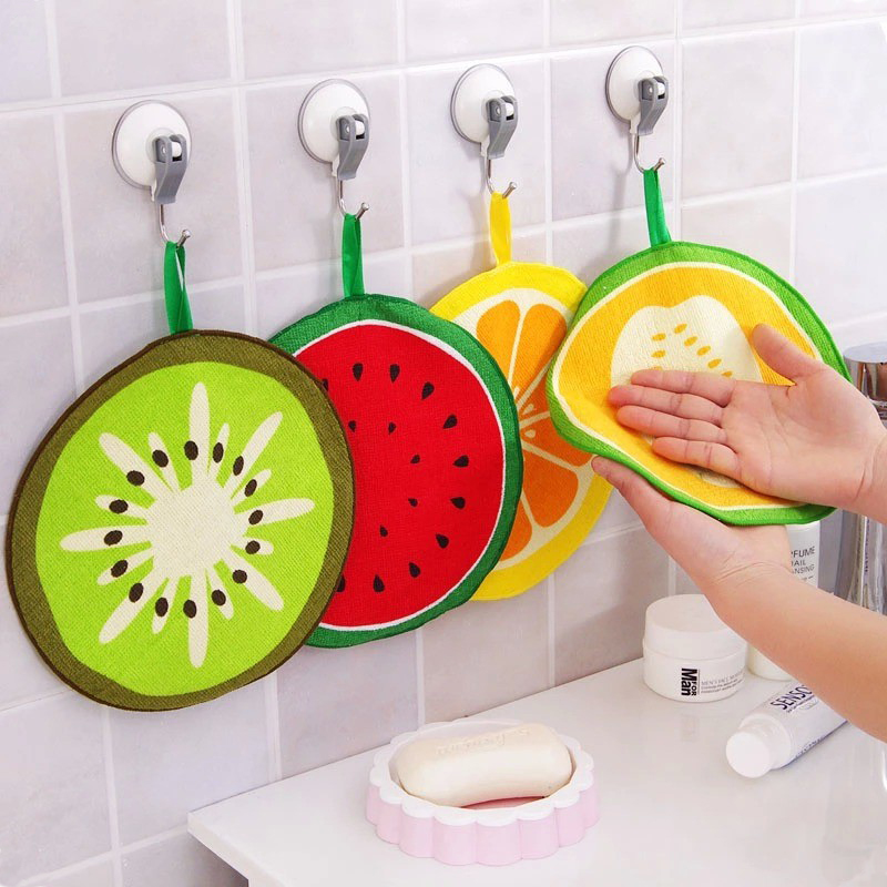 Hot Sale Fruit Pattern Towel Absorbent Cloth Kitchen Towel Handkerchief Quick-Dry Cleaning Rag Dish Cloth Wiping Napkin V3599