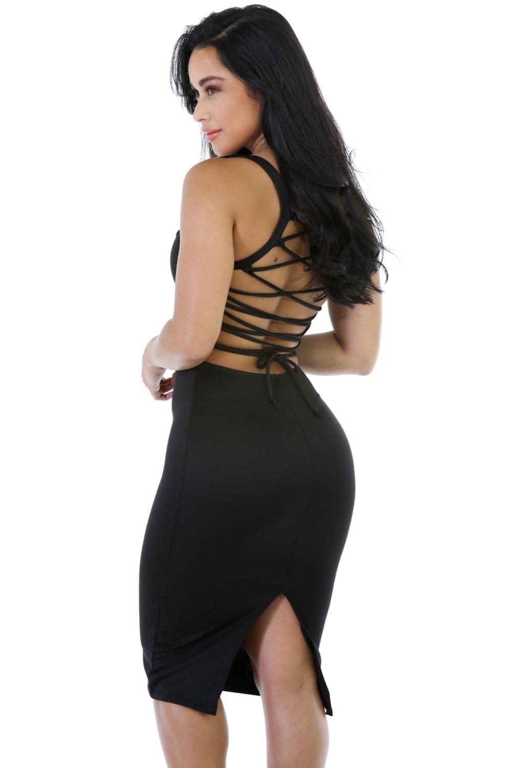 Black-Corset-Style-Back-Lace-Up-Dress-LC61159-2-3