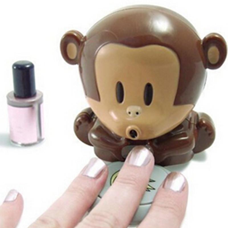 2015 New Mini Lovely Monkey Shape Nail Art Tips Quick Blow Polish Dryer Blower Manicure Care Tools NJ069(China (Mainland))