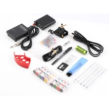Complete Tattoo kits Pro Gun machine Power Pedal 10 Color ink sets power supply disposable needle Grip Tip 2015 Hot(China (Mainland))