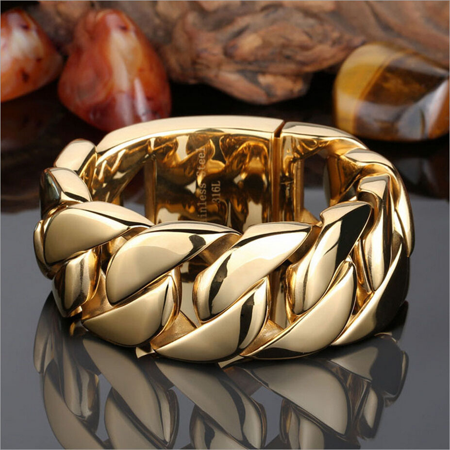 8.66 inch 32mm Heavy Thick Gold Tone Plated Round Cuban Mens Boys Chain 316L Stainless Steel Bracelet Fashion Rock - Greenlife-caso store